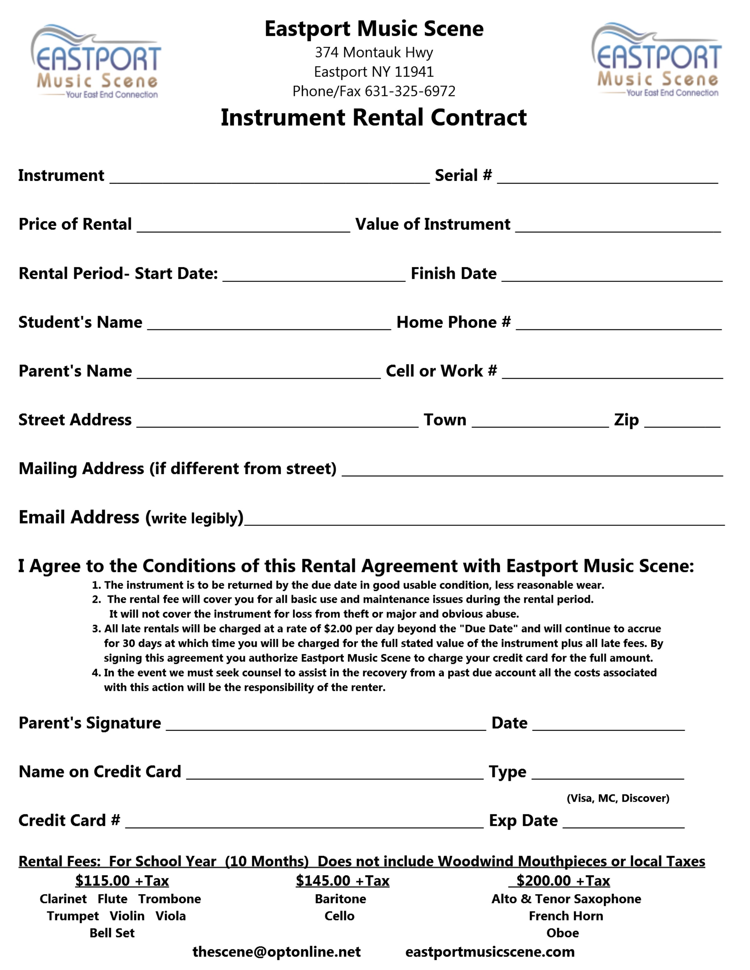 rental contract 2014